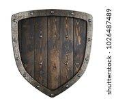 wooden medieval vikings shield... | Shutterstock . vector #1026487489