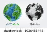 eco world and pollution .... | Shutterstock .eps vector #1026488446
