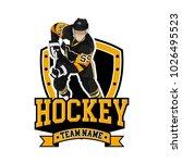 hockey logo badge with people | Shutterstock .eps vector #1026495523