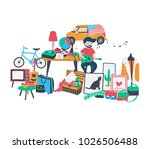 the second hand shop doodle at... | Shutterstock .eps vector #1026506488