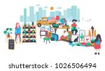 people selling and shopping at... | Shutterstock .eps vector #1026506494
