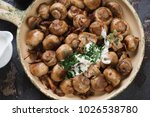closeup of fried champignon and ... | Shutterstock . vector #1026538780