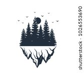 Stock vector hand drawn travel badge with fir tree forest and mountain range textured vector illustrations 1026553690