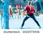 detail of handball goal post... | Shutterstock . vector #1026573436