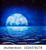 oil painting large glowing moon ... | Shutterstock . vector #1026578278
