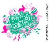 greeting card. easter eggs ... | Shutterstock .eps vector #1026584524