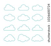 cloud icons set. line art... | Shutterstock .eps vector #1026600724