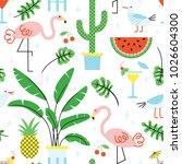 seamless summer tropical... | Shutterstock .eps vector #1026604300