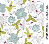 doodle seamless floral... | Shutterstock .eps vector #102660503