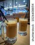delicious ice milk coffee at...   Shutterstock . vector #1026608854