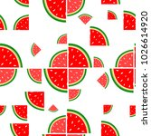 watermelon flat repeat pattern... | Shutterstock .eps vector #1026614920