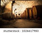 italian wine cellar in barrels | Shutterstock . vector #1026617983