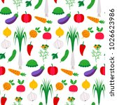 pattern flat with vegetables.... | Shutterstock .eps vector #1026623986