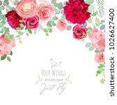 carnation  rose  ranunculus ... | Shutterstock .eps vector #1026627400