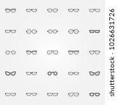 gray glasses icons set   vector ... | Shutterstock .eps vector #1026631726