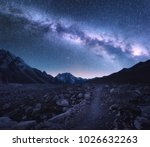 space. milky way and mountains. ... | Shutterstock . vector #1026632263