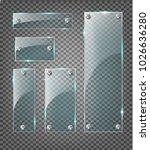transparent glass plates set.... | Shutterstock .eps vector #1026636280