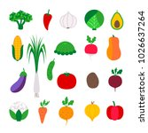 set colorful vegetable. vector... | Shutterstock .eps vector #1026637264