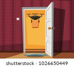 delivery drone holding a box on ... | Shutterstock .eps vector #1026650449