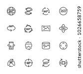line icon set of camera 360...