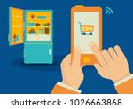ordering food with smartphone... | Shutterstock .eps vector #1026663868