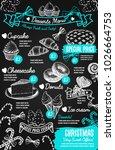 christmas desserts menu... | Shutterstock .eps vector #1026664753