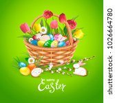 easter composition with... | Shutterstock . vector #1026664780