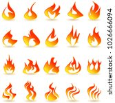 fire flame icons set.   Shutterstock .eps vector #1026666094