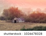 hut in greece in the morning... | Shutterstock . vector #1026678328