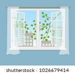 open window with curtains on a... | Shutterstock .eps vector #1026679414
