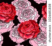 red and graphic pink roses...   Shutterstock .eps vector #1026681838