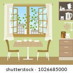 table with chairs near an open... | Shutterstock .eps vector #1026685000