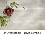 jam with rosemary on wooden... | Shutterstock . vector #1026689566