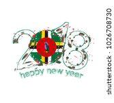 2018 happy new year dominica... | Shutterstock . vector #1026708730