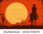 Silhouette of Cowboy riding horses at sunset, vector - stock vector