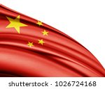 china  flag of silk with... | Shutterstock . vector #1026724168