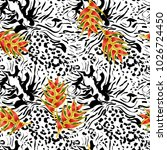 seamless pattern   leopard and... | Shutterstock .eps vector #1026724450