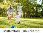 happy family in nature. | Shutterstock . vector #1026736714