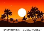 landscape of the desert at dusk | Shutterstock .eps vector #1026740569