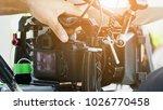 cinema camera on film set ...   Shutterstock . vector #1026770458
