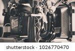 cinema camera on film set ...   Shutterstock . vector #1026770470