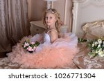 girl in white with pink dress...   Shutterstock . vector #1026771304