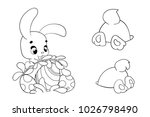 coloring page of cartoon easter ... | Shutterstock .eps vector #1026798490