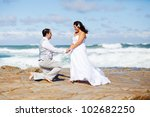bride and groom on beach rocks | Shutterstock . vector #102682250