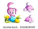 happy rabbit cartoon character. ... | Shutterstock .eps vector #1026828430