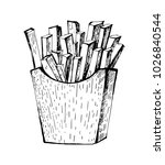 french fries. outline sketch.... | Shutterstock .eps vector #1026840544