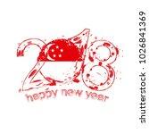 2018 happy new year singapore... | Shutterstock . vector #1026841369