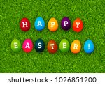 happy easter greeting card with ... | Shutterstock .eps vector #1026851200