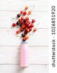 bottle of yogurt with an... | Shutterstock . vector #1026851920