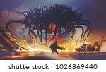 fight scene between the human... | Shutterstock . vector #1026869440
